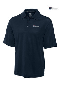Cutter and Buck Pennsylvania Quakers Mens Navy Blue DryTec Championship Short Sleeve Polo Shirt