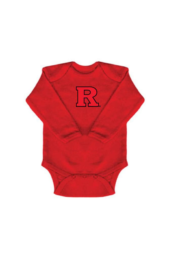 Rutgers Scarlet Knights Baby Red Logo Long Sleeve One Piece - Image 1