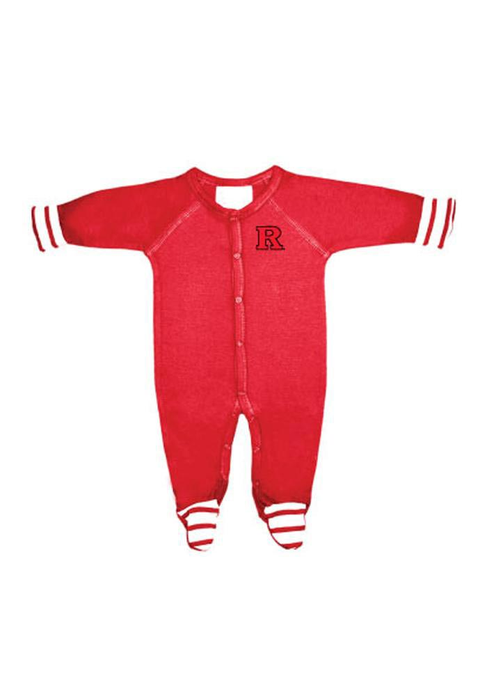 Rutgers Scarlet Knights Baby Red Striped Footie Loungewear One Piece Pajamas - Image 1