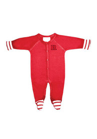 Rutgers Scarlet Knights Baby Striped Footie Red Striped Footie One Piece Pajamas