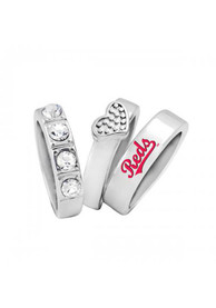Cincinnati Reds Womens Undefeated Stacked Ring - Silver
