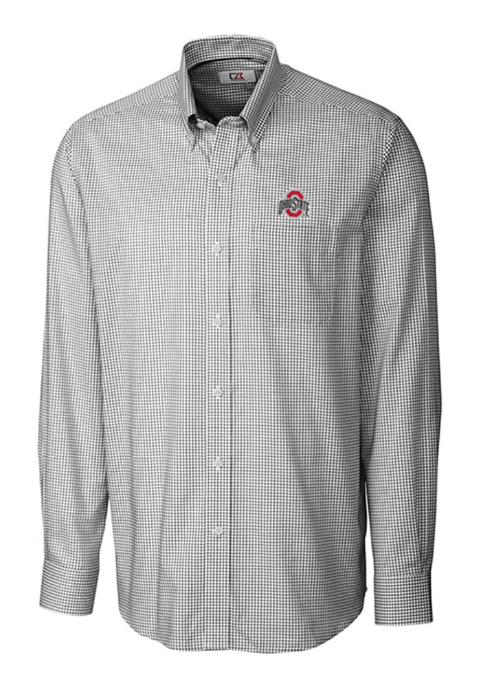 Cutter and buck ohio state buckeyes mens black tattersall for Ohio state shirts mens