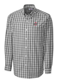 Ohio State Buckeyes Cutter and Buck Grant Plaid Dress Shirt - Black