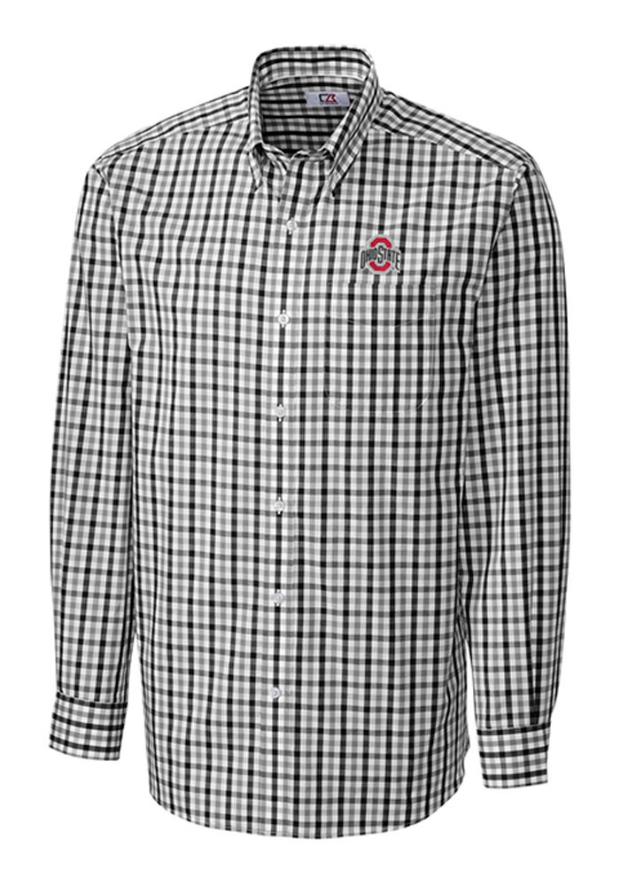 Cutter and Buck Ohio State Buckeyes Mens Black Grant Plaid Long Sleeve Dress Shirt - Image 1