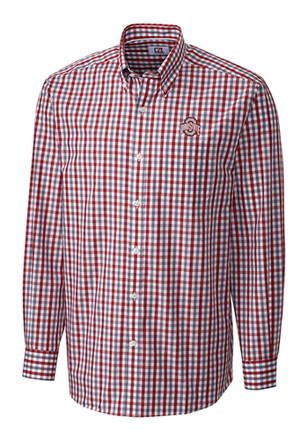 Cutter and Buck Ohio State Buckeyes Mens Red Grant Plaid Dress Shirt