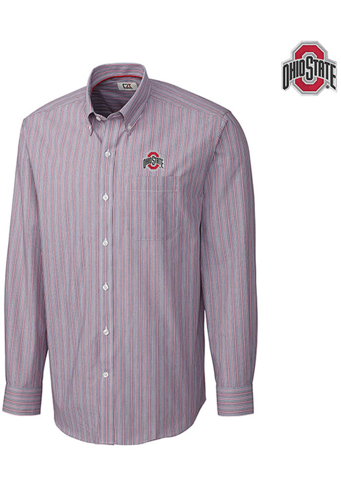 Cutter and Buck Ohio State Buckeyes Mens Grey Epic Easy Care Long Sleeve Dress Shirt - Image 1