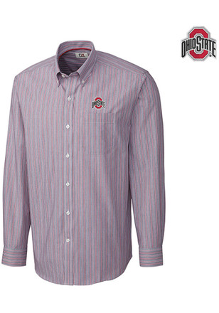 Cutter and Buck Ohio State Buckeyes Mens Grey Epic Easy Care Dress Shirt