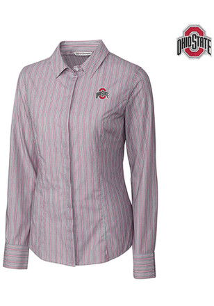 Cutter and Buck The Ohio State University Womens Red Epic Easy Care Dress Shirt