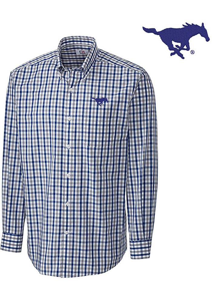 Cutter and Buck SMU Mustangs Mens Blue Grant Plaid Long Sleeve Dress Shirt - Image 1