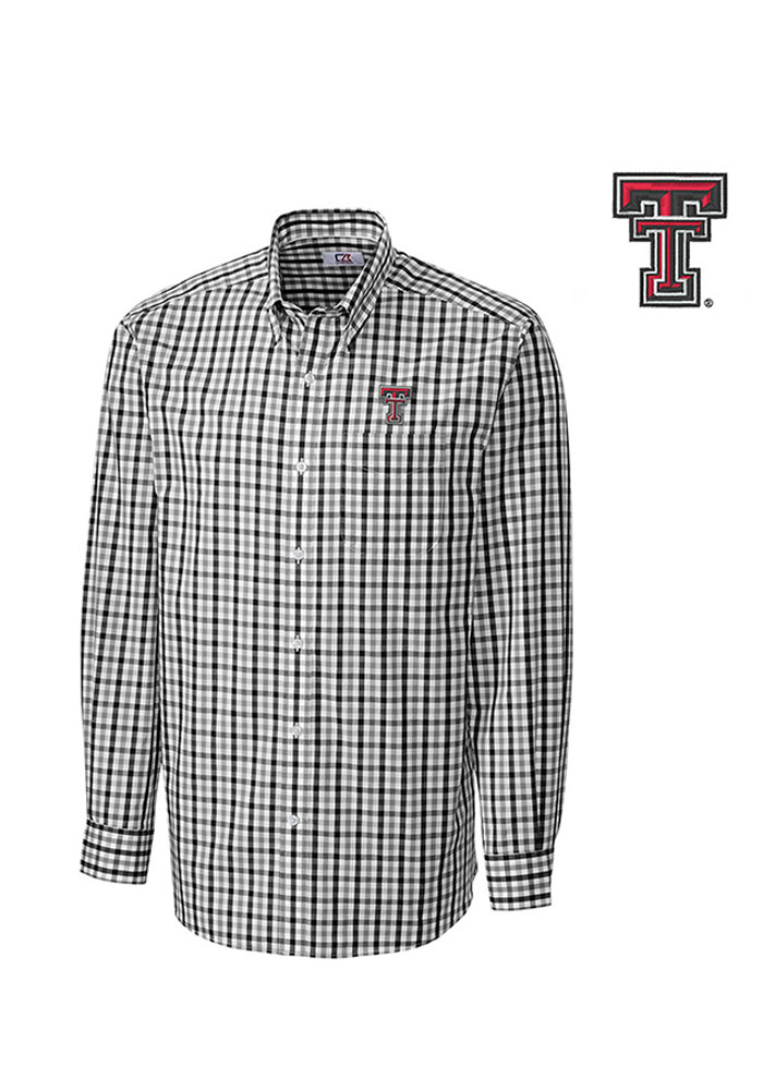 Cutter and Buck Texas Tech Red Raiders Mens Black Grant Plaid Long Sleeve Dress Shirt - Image 1