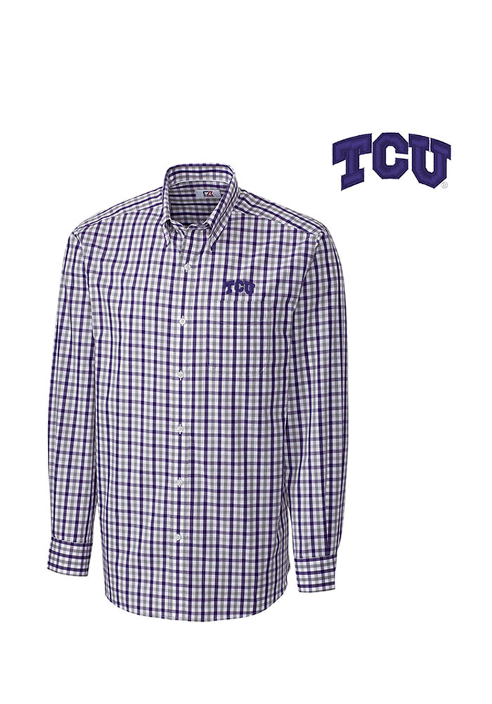 Cutter and Buck TCU Horned Frogs Mens Purple Grant Plaid Long Sleeve Dress Shirt - Image 1