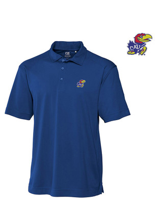Cutter and Buck KU Jayhawks Mens Blue Genre Short Sleeve Polo Shirt