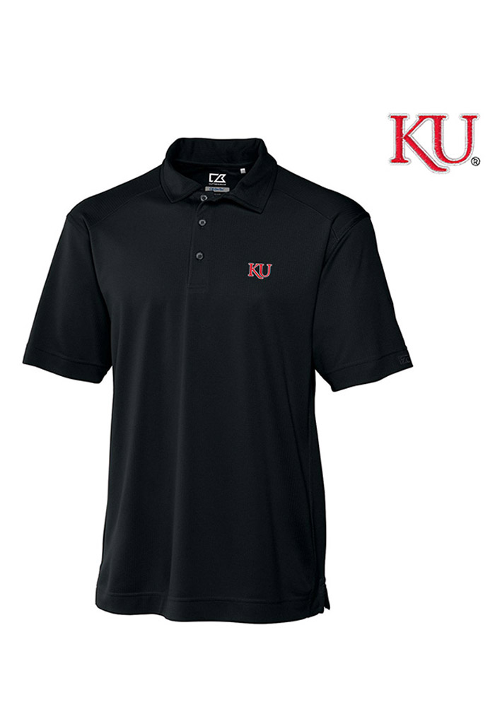Cutter and Buck Kansas Jayhawks Mens Black Genre Short Sleeve Polo - Image 1