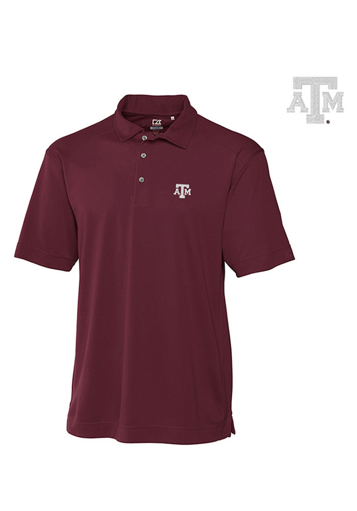 Cutter and Buck Texas A&M Aggies Mens Maroon Genre Short Sleeve Polo - Image 1