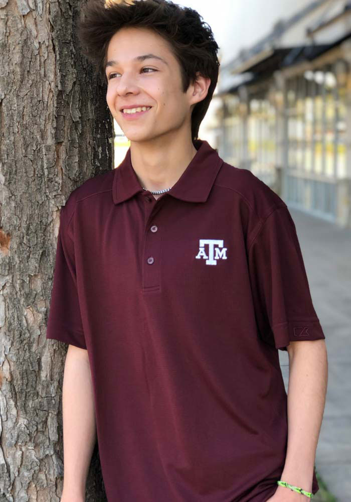 Cutter and Buck Texas A&M Aggies Mens Maroon Genre Short Sleeve Polo - Image 3