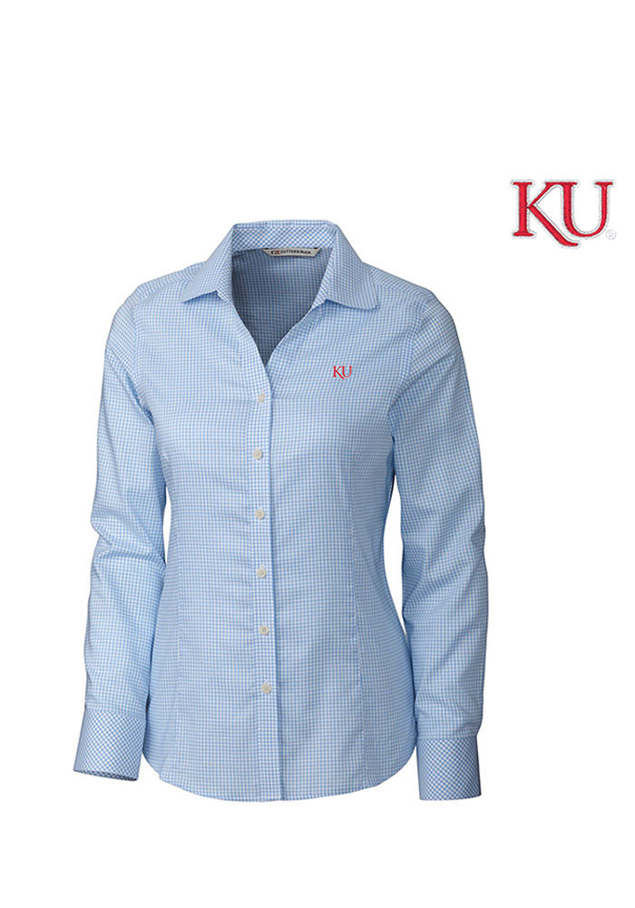 Cutter and Buck Kansas Jayhawks Womens Tattersall Long Sleeve Light Blue Dress Shirt - Image 1