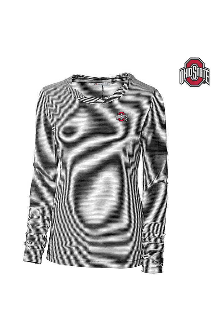 Cutter and Buck The Ohio State University Womens Harbor Stripe Grey T-Shirt 13490250