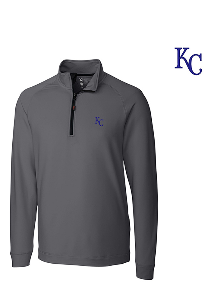 Cutter and Buck Kansas City Royals Mens Grey Jackson Long Sleeve 1/4 Zip Pullover - Image 1
