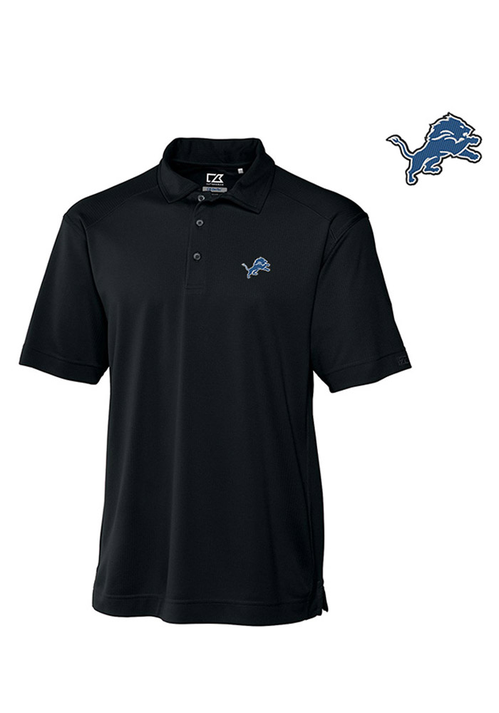 Cutter and Buck Detroit Lions Mens Black Genre Short Sleeve Polo - Image 1