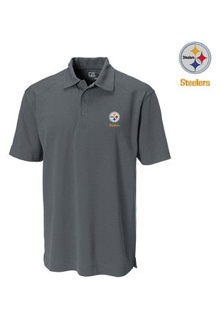 Cutter and Buck Pittsburgh Steelers Mens Grey Genre Short Sleeve Polo Shirt