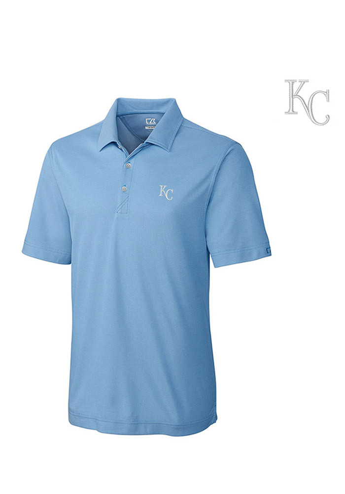 Cutter and Buck Kansas City Royals Mens Light Blue Blaine Oxford Short Sleeve Polo - Image 1
