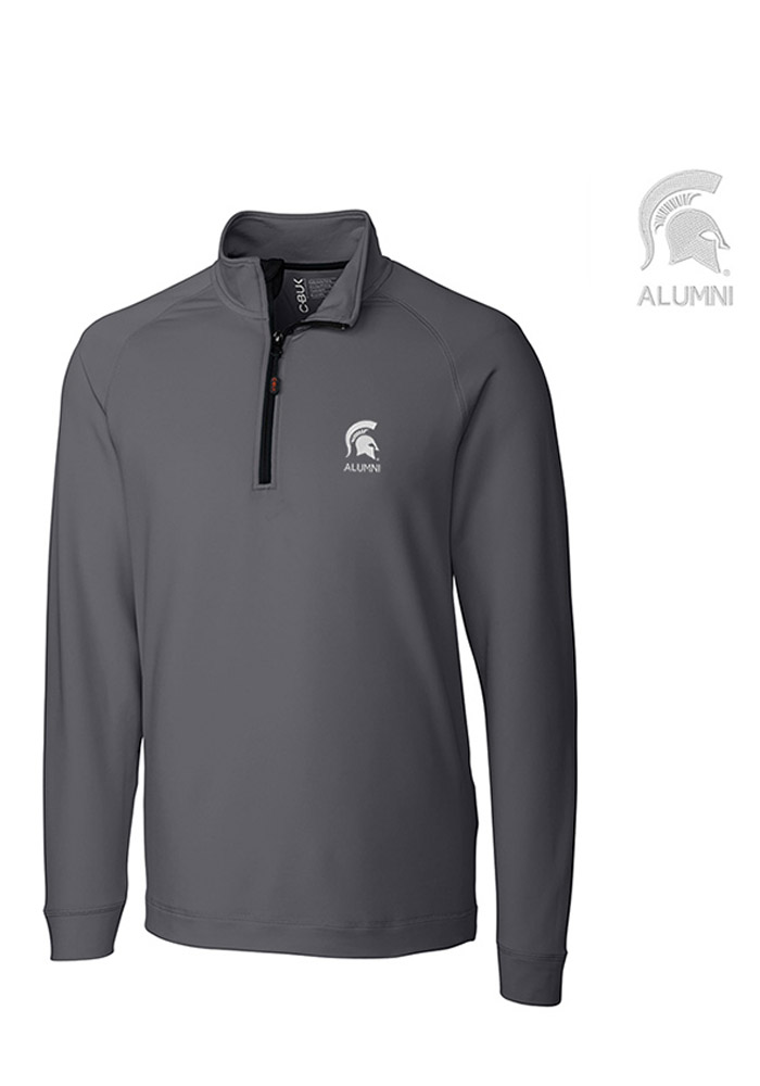 Cutter and Buck Michigan State Spartans Mens Grey Jackson Long Sleeve 1/4 Zip Pullover - Image 1