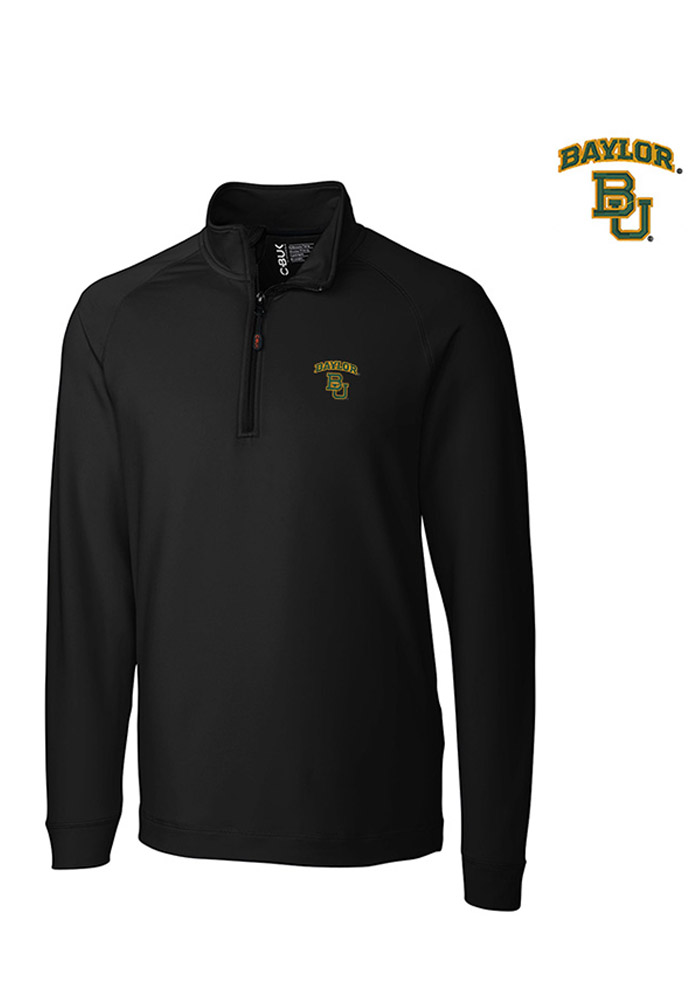 Cutter and Buck Baylor Bears Mens Black Jackson Long Sleeve 1/4 Zip Pullover - Image 1