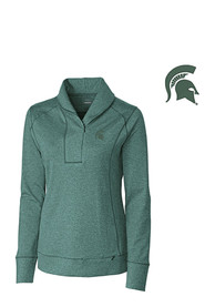 Michigan State Spartans Womens Cutter and Buck Shorline 1/4 Zip Pullover - Green