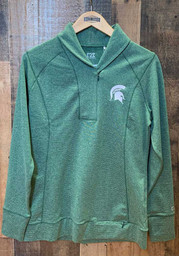 Cutter and Buck Michigan State Spartans Womens Green Shorline 1/4 Zip Pullover