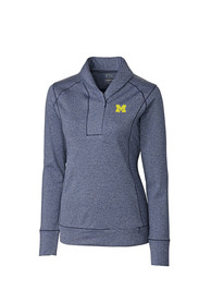 Michigan Wolverines Womens Cutter and Buck Shorline 1/4 Zip Pullover - Navy Blue