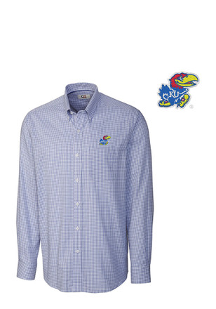 Cutter and Buck Kansas Jayhawks Mens Blue Tattersall Dress Shirt