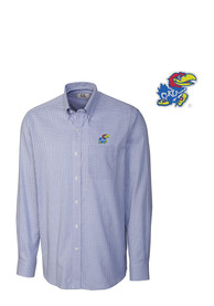 Kansas Jayhawks Cutter and Buck Tattersall Dress Shirt - Blue