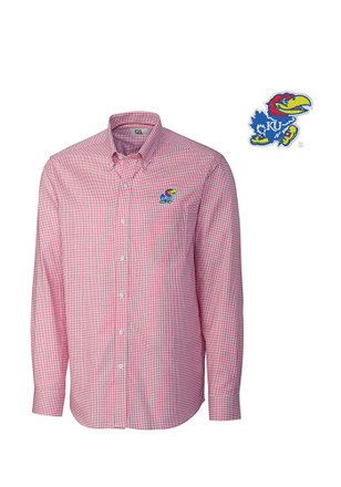 Cutter and Buck Kansas Jayhawks Mens Red Tattersall Dress Shirt