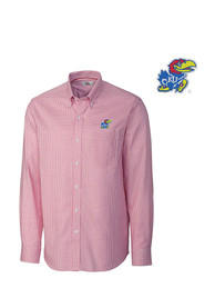 Kansas Jayhawks Cutter and Buck Tattersall Dress Shirt - Red