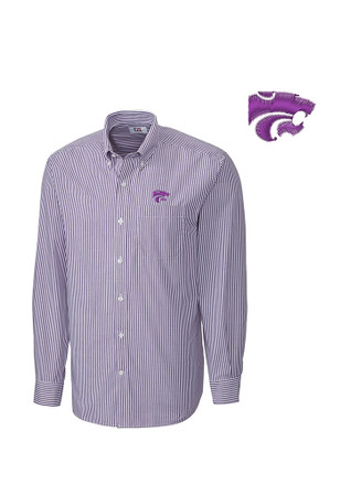 Cutter and Buck K-State Wildcats Mens Purple Mini Bengal Dress Shirt