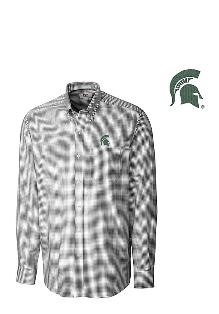 Cutter and Buck Michigan State Spartans Mens Black Tattersall Long Sleeve Dress Shirt - Image 1