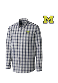 Cutter and Buck Michigan Wolverines Mens Navy Blue North Point Dress Shirt