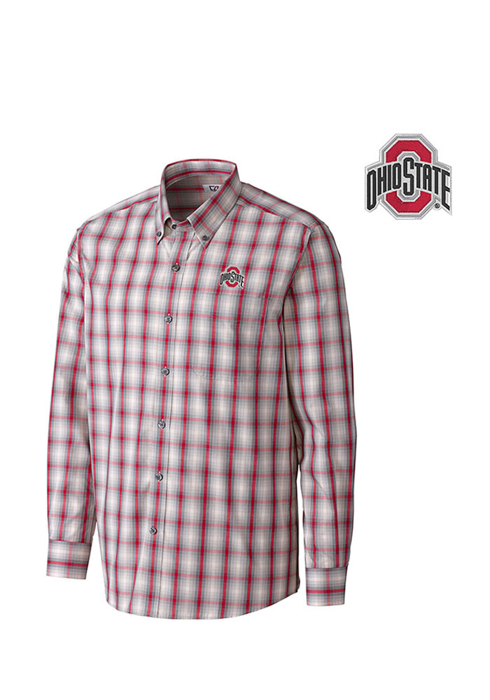 Cutter and Buck Ohio State Buckeyes Mens Red North Point Long Sleeve Dress Shirt - Image 1