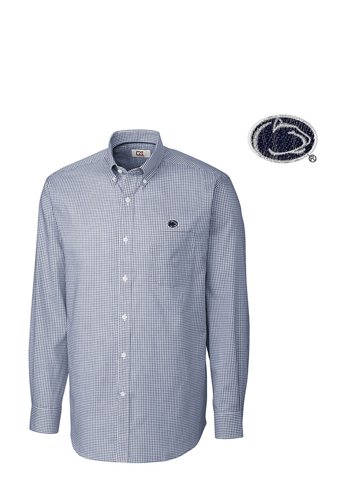 Cutter and Buck Penn State Nittany Lions Mens Navy Blue Tattersall Long Sleeve Dress Shirt - Image 1