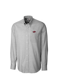 Arkansas Razorbacks Cutter and Buck Tattersall Dress Shirt - Black