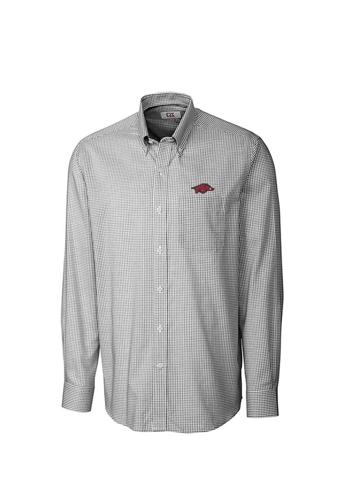 cutter and buck arkansas razorbacks mens black tattersall