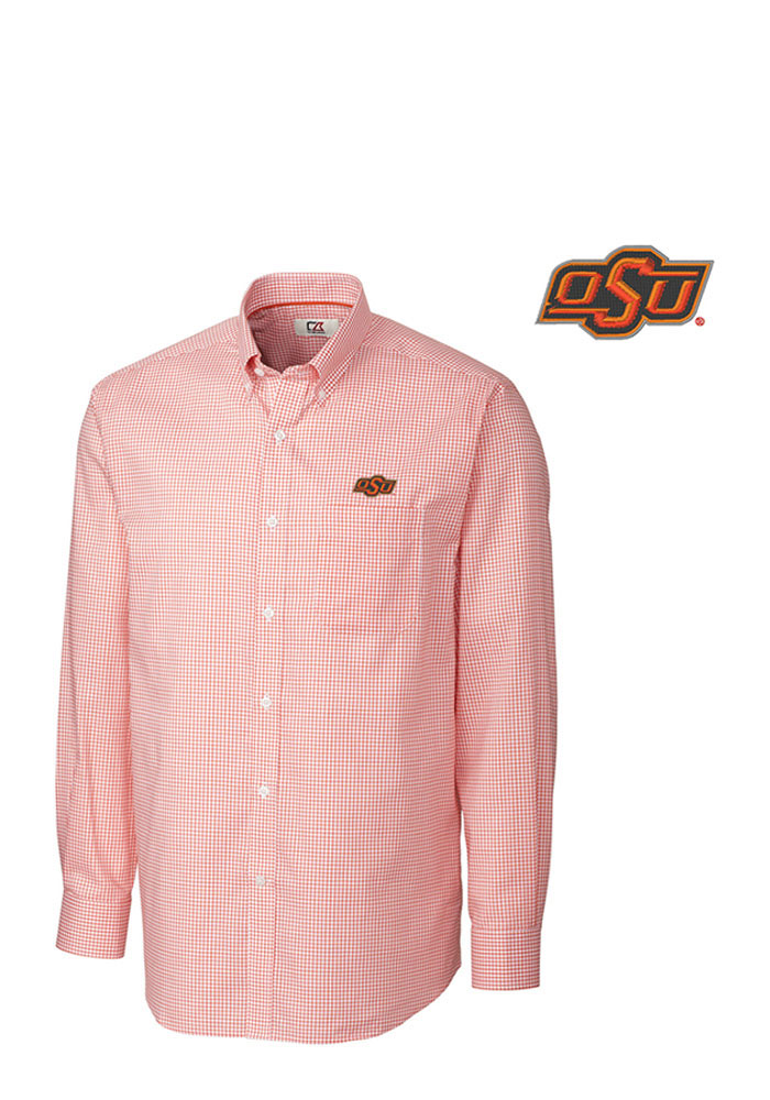 Cutter and Buck Oklahoma State Cowboys Mens Orange Tattersall Long Sleeve Dress Shirt - Image 1