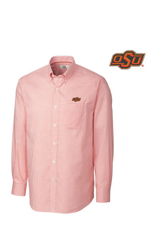 Cutter and Buck Oklahoma State Cowboys Mens Orange Tattersall Dress Shirt