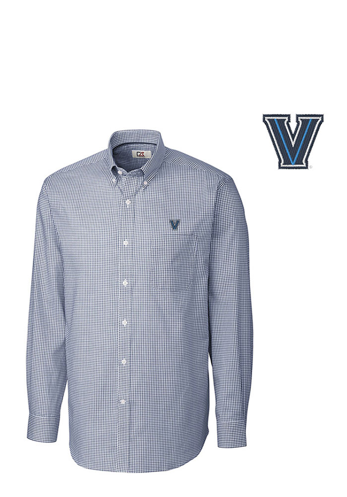 Cutter and Buck Villanova Wildcats Mens Navy Blue Tattersall Long Sleeve Dress Shirt - Image 1