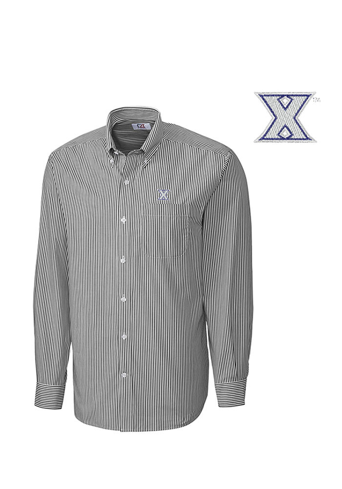 Cutter and Buck Xavier Musketeers Mens Grey Mini Bengal Long Sleeve Dress Shirt - Image 1