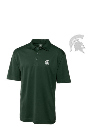 Cutter and Buck Michigan State Spartans Mens Green Genre Short Sleeve Polo Shirt