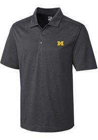 Michigan Wolverines Cutter and Buck Chelan Polo Shirt - Charcoal