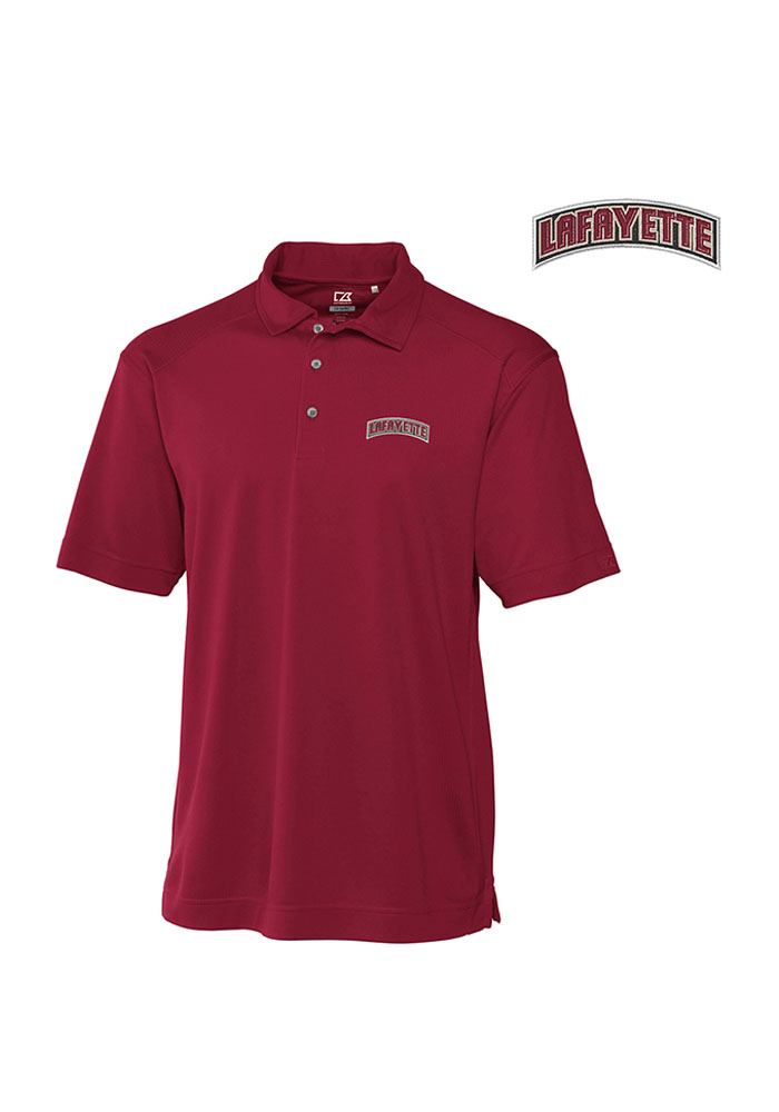 Cutter and Buck Lafayette College Mens Maroon Genre Short Sleeve Polo - Image 1