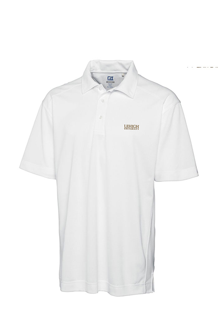 Cutter and Buck Lehigh University Mens White Genre Short Sleeve Polo - Image 1