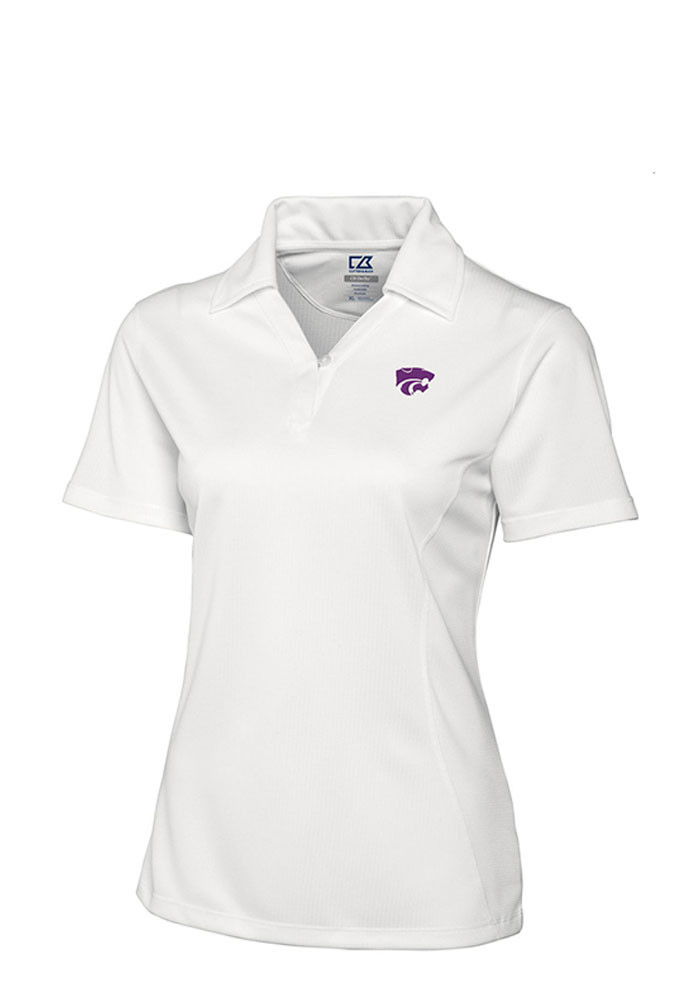 Cutter and buck k state wildcats womens white genre short for Cutter buck polo shirt size chart